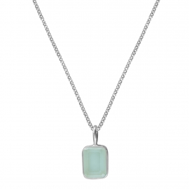 Necklace with small aqua chalcedony - silver