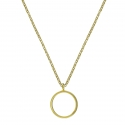 Geometric necklace with circle - silver
