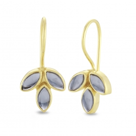 Blüten Ohrhänger mit blauen Quarzen - vergoldet