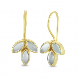 Blossom ear hangers with aqua chalcedonies - gold plated