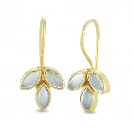 Blüten Ohrhänger mit Aqua Chalcedonen - vergoldet
