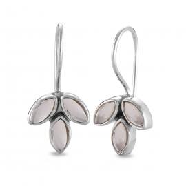 Blossom ear hangers with smoky quartz- Silver