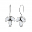 Blossom ear hangers with moonstones- Silver