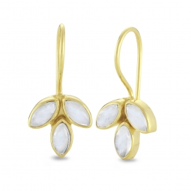 Blossom ear hangers with moonstones - gold plated