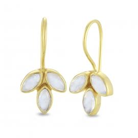 Blüten Ohrhänger mit Mondsteinen - vergoldet