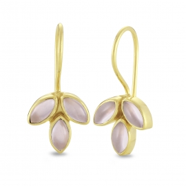 Blossom ear hangers with pink chalcedonies - gold plated