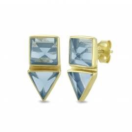 Geometrical ear studs with blue quartz in gold plated silver
