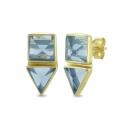 Geometrische Ohrstecker mit blauem Quarz aus vergoldetem Silber