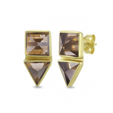 Geometrical ear studs with smoky quartz in gold plated silver