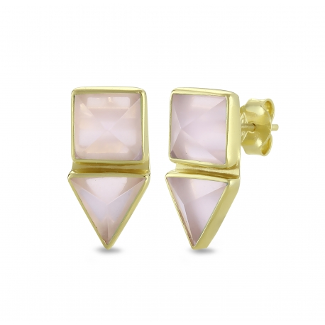 Geometrical ear studs with pink chalcedony in gold plated silver