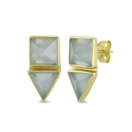 Geometrical ear studs with aqua chalcedony in gold plated silver