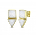 Geometrical ear studs with moonstone in gold plated silver