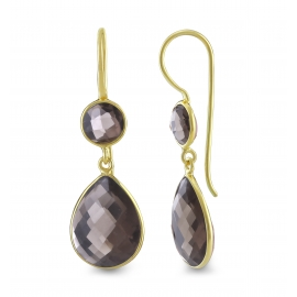 Drop ear hanger with smoky quartz - gold plated