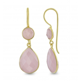 Drop ear hanger with pink chalcedonies - gold plated