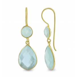 Drop ear hanger with aqua chalcedonies - gold plated