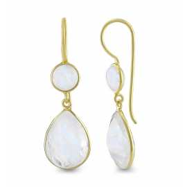 Drop ear hanger with moonstones - gold plated