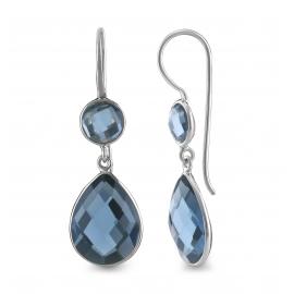 Drop ear hanger with blue quartz- silver