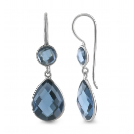 Drop ear hanger with blue quartz - silver