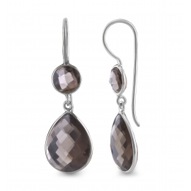 Drop ear hanger with smoky quartz - silver