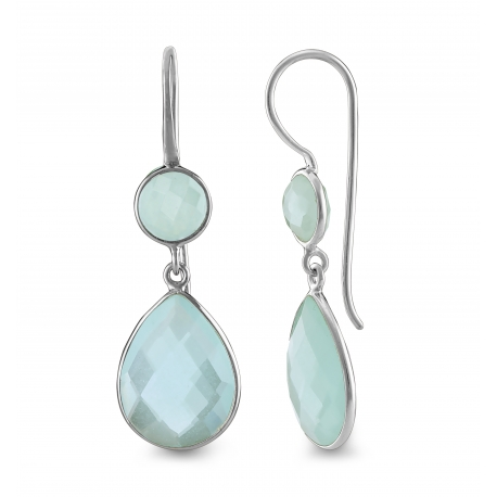 Drop ear hanger with aqua chalcedonies- silver