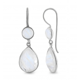 Drop ear hanger with moonstone - silver