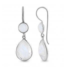 Tropfen Ohrhänger mit Mondsteinen - Silber
