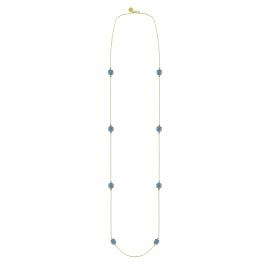 Long necklace with 8 blue quartzes - vergoldet