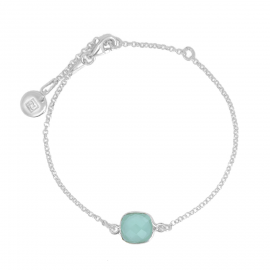 Bracelet with square, turquoise aqua chalcedony - silver