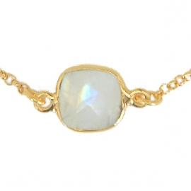 Long necklace with 8 aqua chalcedonies - vergoldet