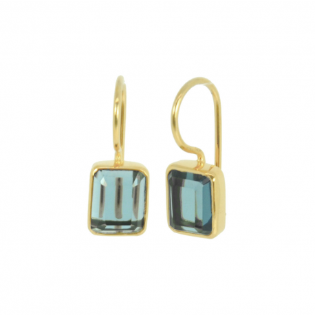 Vergoldete Ohrhänger mit blauen Quarzen