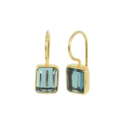 Gold plated ear hangers with blue quartz