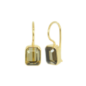 Gold plated ear hangers with smoky quartz