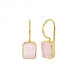 Gold plated ear hangers with pink chalcedony