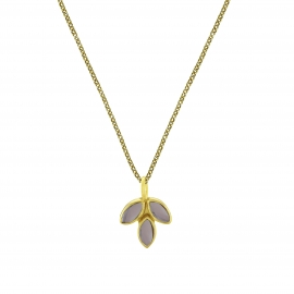 Necklace with smoky quartz blossom pendant - gold plated