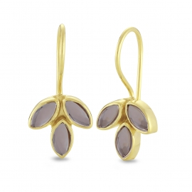 Blossom ear hangers with smoky quartz - gold plated