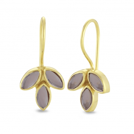 Blüten Ohrhänger mit Rauchquarzen - vergoldet
