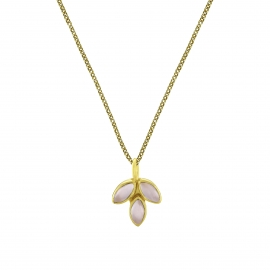 Necklace with pink chalcedony blossom pendant - gold plated