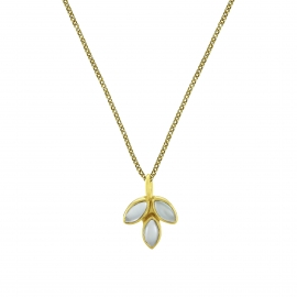 Necklace with aqua chalcedony blossom pendant - gold plated