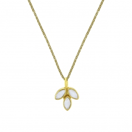 Necklace with moonstone blossom pendant - gold plated