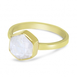 Ring with hexagon moonstone - gold plated