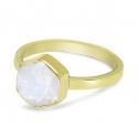Ring mit sechseckigem Mondstein - vergoldet