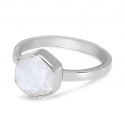 Ring with hexagon moonstone - silver