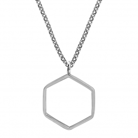 Geometric necklace with hexagon - silver