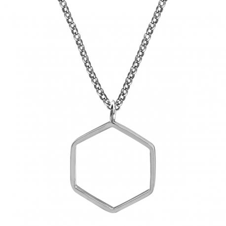 Geometrische Kette mit Sechseck - Silber