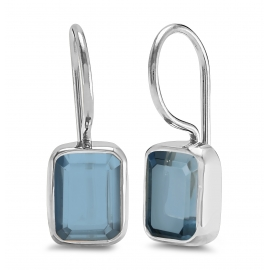 Silver ear hangers with blue quartz