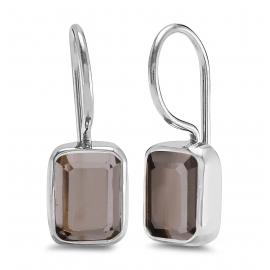 Ear hangers with blue quartz - silver