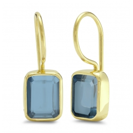 Ear hangers with blue quartz - gold plated