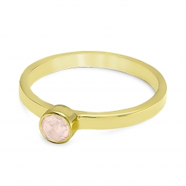 Solitaire ring with pink chalcedony - gold plated