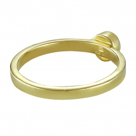 Solitaire ring with aqua chalcedony - gold plated