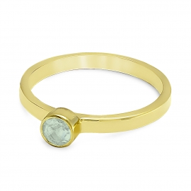 Solitaire ring with smoky quartz - gold plated